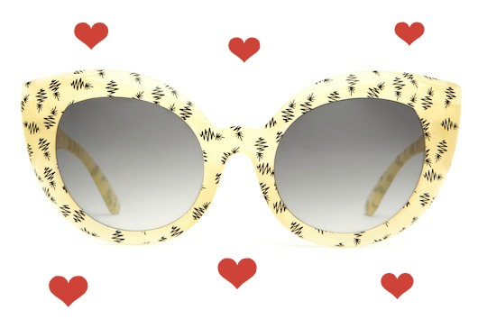 hearts_Crap_Eyewear-The_Diamond_Brunch-Semitranslucent_Yellow_Black_Pineapples-Grey_Gradient_Lens-front
