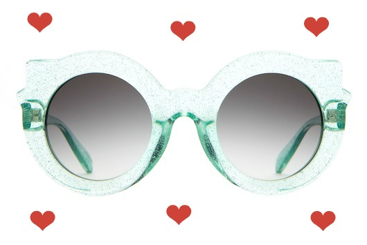 hearts_Crap_Eyewear-The_Hanoi_Weekend-Gloss_Mint_Glittter-Grey_Gradient_Lens-front