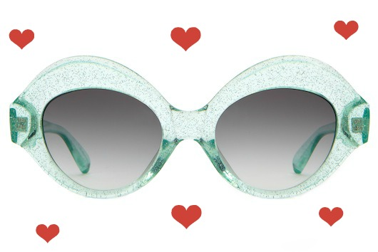 hearts_Crap_Eyewear-The_Saloma_Tropic-Gloss_Mint_Glittter-Grey_Gradient_Lens-front